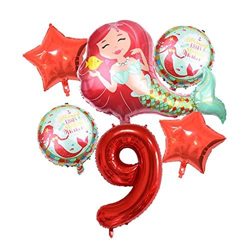 XIAOZSM Globos Globos de lámina de sirpea púrpura roja con número de dígitos de 40 Pulgadas Helio Globo Dibujos Animados Globos Decoraciones de Fiesta de cumpleaños niños o Adultos ( Farbe : Red 9 )