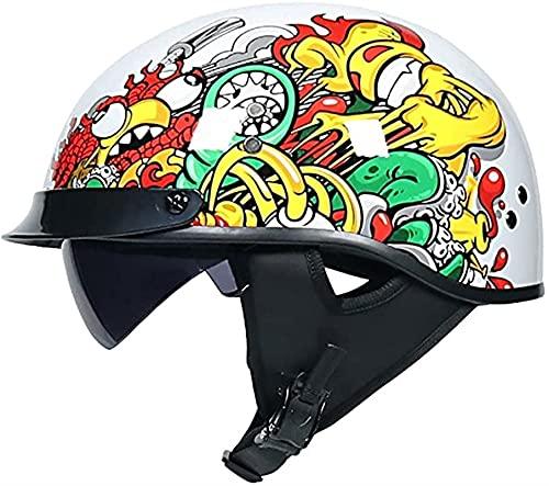 YALIXING Casco de motocicleta retro, ligero, estilo clásico, abierto, con visera solar, Cruiser Scooter para hombres y mujeres, certificación DOT/ECE (color: A, tamaño: grande 59 – 60 cm)