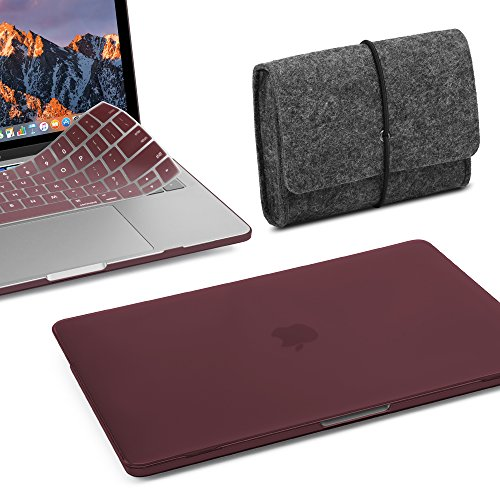GMYLE MacBook Pro 15 inch Case 2018 2017 2016 Release A1990/A1707, Plastic Hard Shell, Fabric Storage Bag Travel Pouch, Keyboard Cover Set Compatible Newest Mac Pro 15 Inch – Burgundy Red Set
