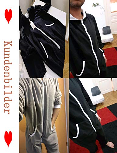 ADOMES Jumpsuit Herren Schlafanzug Jogger Jogging Anzug Trainingsanzug Overall Einteiler Schlafoverall Langarm Pyjama mit Kapuze Schwarz Grau - 4