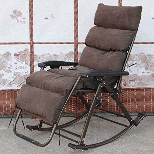 Recliner Dickes Wattepad Entspannen Sie Sich Klappbarer Schaukelstuhl Können Sitzen Shake Hinlegen 90 ° ~ 165 ° Freie Einstellung Gewicht: 14 Kg Zum Büro Garten Terrasse, Braun