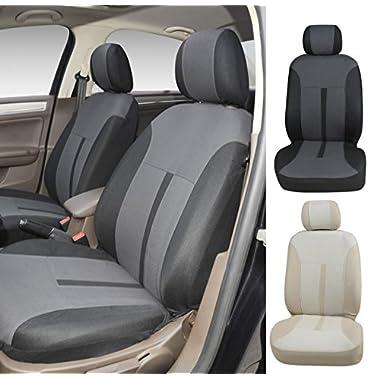 N16102 Grey-Fabric 2 Front Car Seat Covers Compatible To Mazda 3 (4-Door) 3 (5-Door) 6 CX-3 CX-5 2017-2007 (Grey)