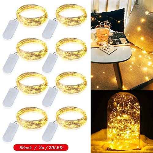 8 Piezas Cadena de Luces con pilas CR2032, Zorara 2M/6.6 Ft 20 LEDs Guirnaldas Luces con Pilas, Luces Decorativas Flexible de Alambre de Cobre, Blanco Cálido [Clase de eficiencia energética A+]
