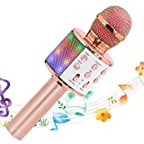 VERKB Kids Karaoke Microphone Machines Toy for 3-12 Year Girls, Bluetooth Karaoke Wireless Microphone with LED Lights for Children's Gift Toy (Rose Gold)