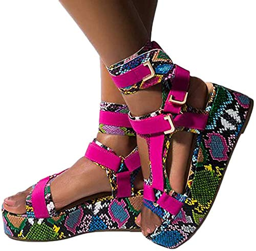 Gibobby Sandals for Women Dressy,Open Toe Gladiator Ankel Strap Sexy Snakeskin Flatform Platform Sandals Comfortable Velcro Flats