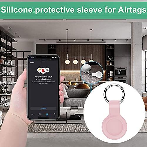 Hainice di Protezione della Pelle in Silicone Compatibile con la Copertura di Caso Airtags Tracker Bluetooth Copertura Airtags Accessori con Portachiavi Rosa Facile da installare