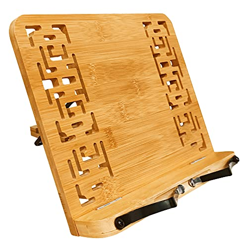 BINSENI Support de Livre en Bambou 2 Clips Métalliques à Lecture Fixe Pliable Portable, pour Les Livres de Cuisine, Recettes, iPads, Tablettes (B)
