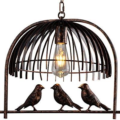 Industrial Retro Birdcage Bronze Chandelier - Battaa CTI5010 (2017 New Design) Creative Lovely Birds Pendant Lighting Vintage Loft Metal Ceiling Lamp For Bedroom Restaurant Cafe Bar 2-Year Warranty