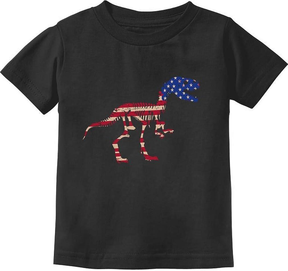USA T-Rex Dinosaur American Flag 4th of July Gift Toddler Kids T-Shirt