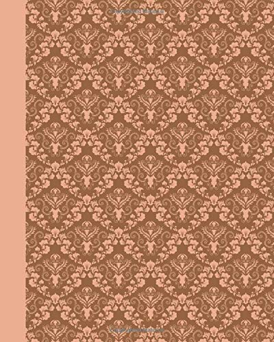 Sketch Journal: Damask (Peach) 8x10 - Pages are lightly lined with EXTRA WIDE RIGHT MARGINS for sketching, drawing, and writing (8x10 Patterns & Designs Side Sketch Journal)