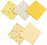 5 Piezas 50 x 50cm Tela de Algodón Patchwork Paquete de tela de Flores patrón Floral de Costura de Material Textil para Tela Patchwork Costura Manualidades DIY(Amarillo)