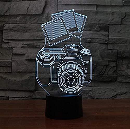 3D Illusion Nachtlicht Bluetooth Smart Control 7 & 16M Farbe Mobile App LED Vision Ligh Acryl Kamera Schreibtisch Kinder Schlafzimmer USB-Scheinwerfer Baby Nachtbett Schlaf Dekor bunt Kreatives GIF