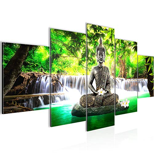 Runa Art - Cuadro Buda Cascada 200 x 100 cm 5 Piezas XXL Decoracion de Pared Diseño Verde 503551a