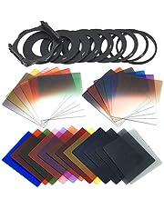 レンズフィルター 写真フィルタの組み合わせ24PCS正方形フル+段階的なフィルターセット+ 9サイズのアダプターリングフィルターホルダーCOKIN Pシリーズと互換性