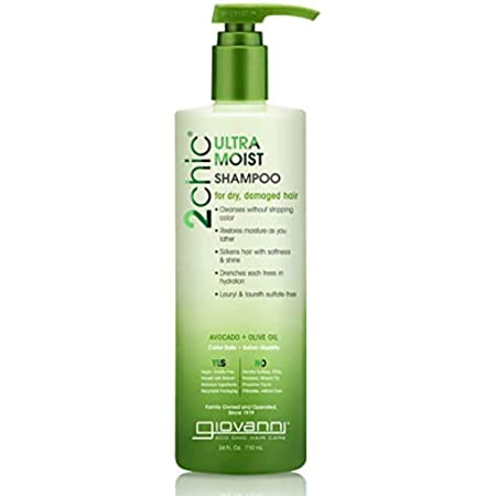 GIOVANNI, 2chic Shampoo Hydration Formula Enriched with Aloe Vera Shea Butter Botanical Extracts Oils Sulfate Free No Parabens Color Safe Pack of, Ultra-Moist (Avocado + Olive Oil), 24 Fl Oz (AD763)