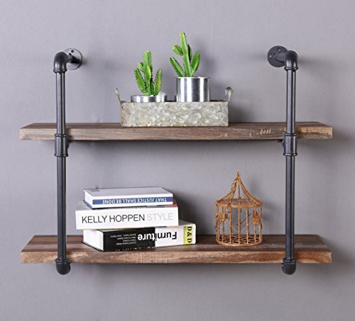 Homissue 2Shelf Rustic Pipe Shelving Unit Vintage Industrial Pipe Wall Shelf Retro Brown
