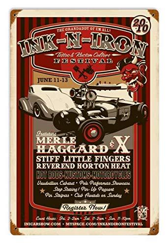 Maizeco Vintage Merle Haggard garage hem bar affisch pub shop man grotta 20 x 30 cm väggdekor metall tenn skyltar