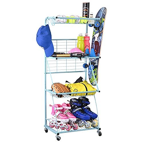 PLKOW Sports Equipment Storage for Garage, Indoor/Outdoor Sports Rack for Garage, Ball Storage Garage Organizer with Basket and Hooks,Toy/Sports Gear Storage (Blue)