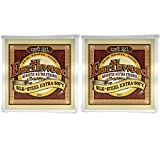 Ernie Ball 2047 Earthwood Silk and Steel Extra Soft Acoustic Strings 10-50 2 Pack Bundle
