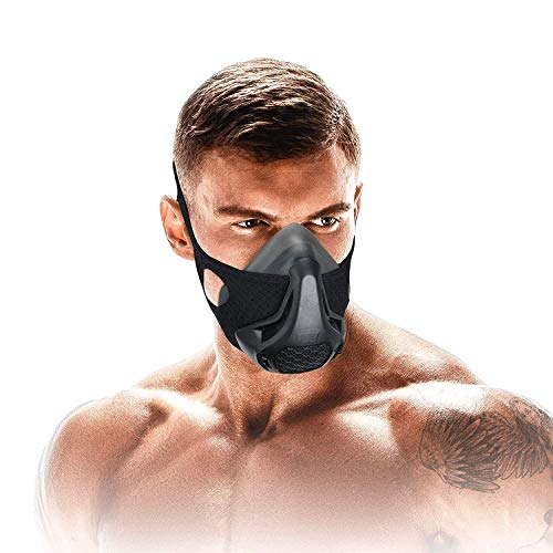 Anyoupin Workout MaskHigh Altitude Elevation Simulation24 Oxygen Deprivation LevelsTraining Mask for Performance FitnessCardioRunningEndurance and HIIT Black