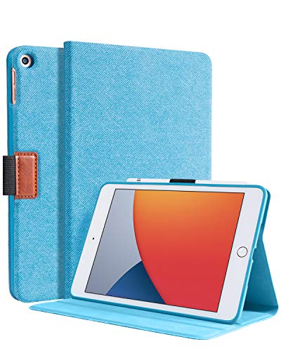Bokeer for iPad Mini 5 Case, Support Auto Sleep/Wake, Shockproof Protective TPU Back Cover with Denim Printing Front Cover, Built-in Pencil Holder (Blue)