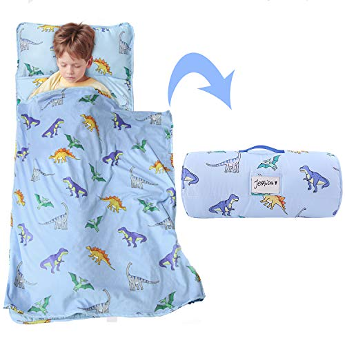 MAXTID Toddler Nap Mat with Removable Pillow for Boys and Girls, Measures 50 x 21 x 1.5 Inches Great for Daycare & Preschool (Blue Dinosaur)