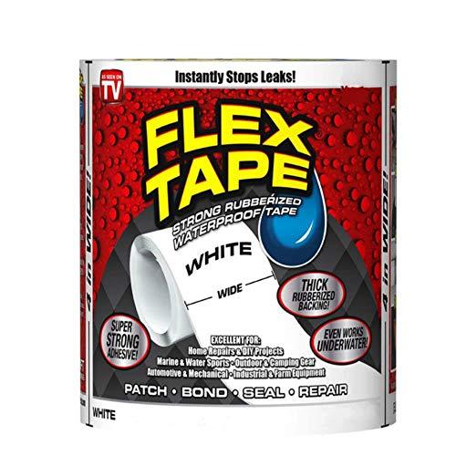 Zwart/Wit Supersterke Waterdichte Tape Stop Lekafdichting Scheur Reparatie Tapes Zelfvezel Fix Adhesive Fiber fix Flex Afdichtingstape, Wit, 30CM