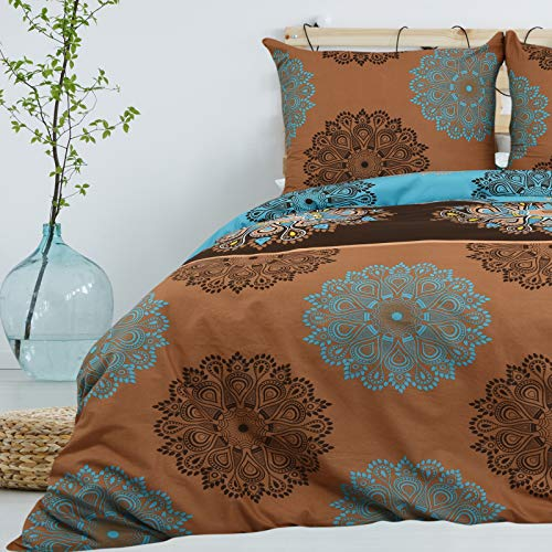Bettwäsche 135x200 cm 2 teilig aus 100% Baumwolle Renforce mit Reißverschluss Bettwäscheset 1 Bettbezug und 1 Kissenbezug, Standardgröße, Farbe Braun Aquamarin Hellblau, Mehrfarbig mit Muster