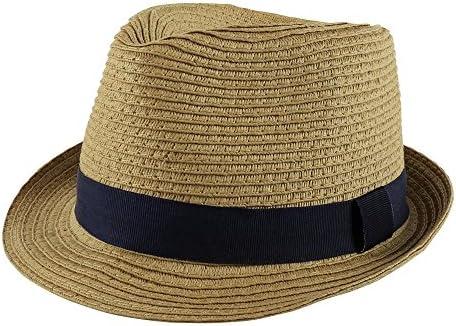Paek 2 Peak Unisex Kids Straw Trilby Fedora Cap Felt Fedora Hat Short Brim Sunhat Toddler Navy product image