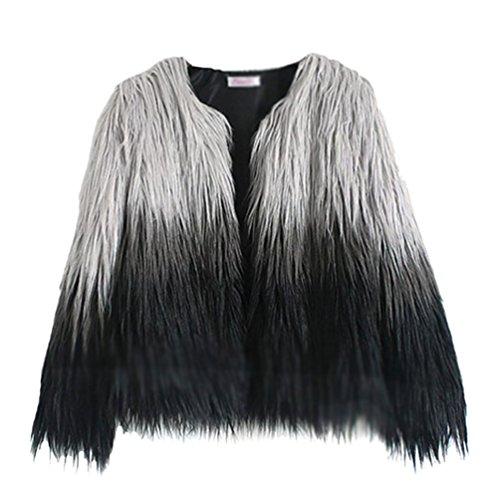 YiLianDa Cappotto Donna Pelliccia Sintetica Invernale Elegante Overcoat per Autunno e Inverno M