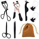 Eyelashes Curler,Black And Rose Gold Eyelash Curler With Silicone Refill Pads, Partial Eyelash Curler With Satin Bag, Fits All Eye Shapes And Sizes, Make Eyelashes Curl More Naturally