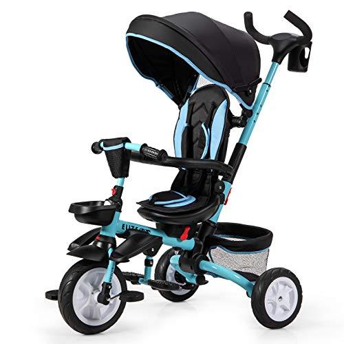 COSTWAY Triciclo para Niños Multiuso con Techo Ajustable y Extraíble Cinturón de Seguridad Silla de Paseo con Varilla de Empuje y Pedal Plegable para Niños de 12 a 50 Meses (Azul)