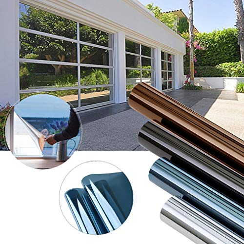 KINLO 300 x 75 cm spiegelfolie zonwerende folie zonder lijm voor ramen PVC privacyfolie 99% UV-bescherming privacy glas raamsticker raamfolie (blauw zilver)