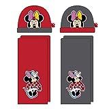 Disney Minnie Maus 2tlg. Winterset AUSWAHL Kindermütze Kinderhandschuhe Mütze Schal Handschuhe WD11631 (Rot)