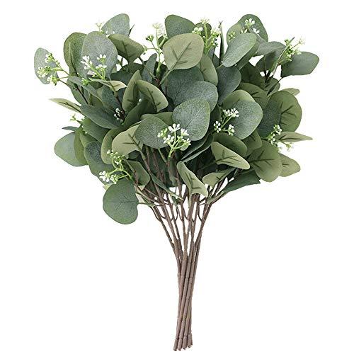GCSVEES 10 unidades de eucalipto artificiales, ramas plantas verdes flores para balcón, jardín, interior, exterior, primavera o alféizar ventana