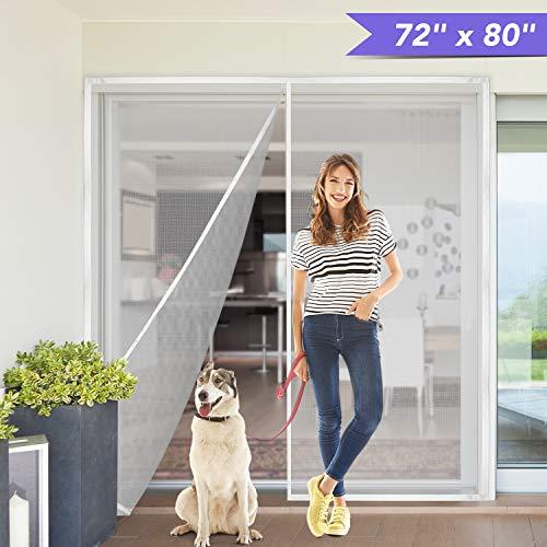 """Titan Mall 72x80"""" Upgraded Magnetic Screen Door with Durable Fiberglass Mesh Curtain Fits Door Full Frame Seal Loop Fits Door- White"""