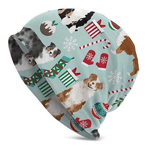 AEMAPE Gorra de Calavera Pastor Australiano Navidad Perros australianos Lindos Sombrero de Punto Negro para Adultos Beanie Hat Jerseys para Hombres y Mujeres