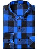 DOKKIA Men's Dress Buffalo Plaid Checkered Fitted Long Sleeve Flannel Shirts (Blue Buffalo Check, XX-Large)