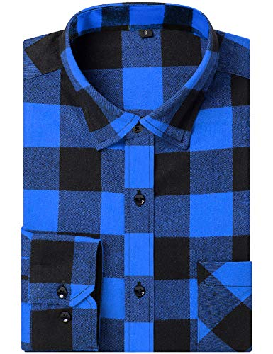 DOKKIA Men's Dress Button Down Buffalo Plaid Checked Long Sleeve Flannel Shirts (Blue Buffalo Check, Large)