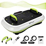 MVPower Fitness Ultraflache Vibrationsplatte mit Leisem Motor | LCD Display | 120 Level | Inkl. Fernbedienung, Trainingsbänder,belastbar bis 180 kg