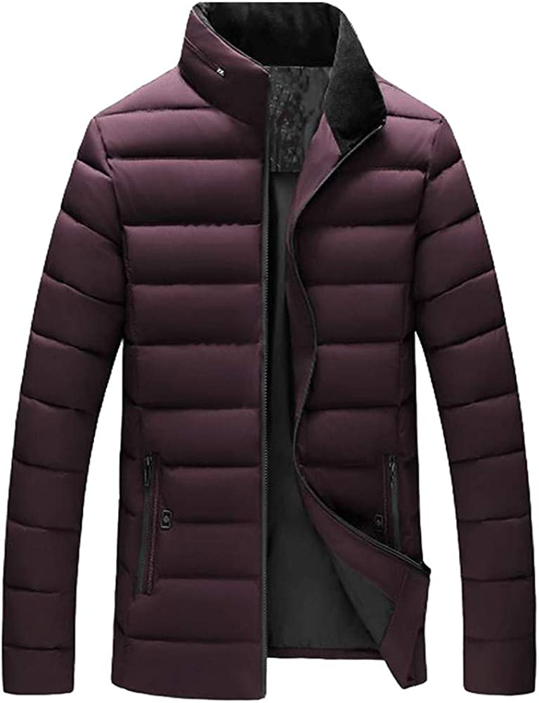 TOPUNDER Casual Warm Stand Collar Slim Winter Zip Coat Outwear Jacket Top Blouse Men Boys