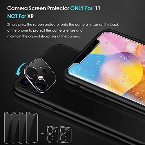 ivoler [4 Stück] Panzerglas für iPhone 11 und iPhone XR, [2 Stück] Kamera Panzerglas für iPhone 11, Schutzfolie Mit Positionierhilfe [9H Härte]