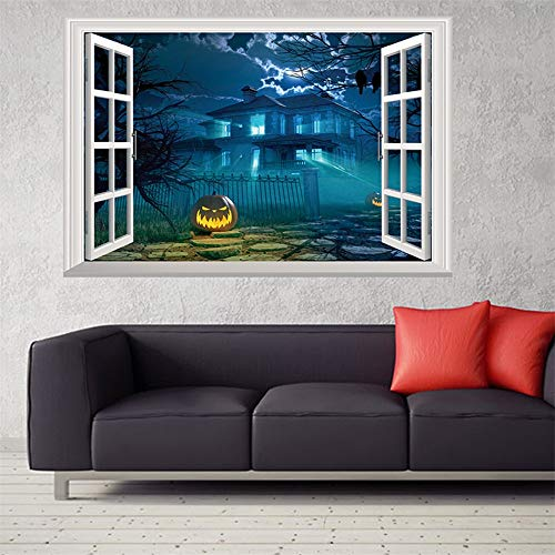 KDOAE Halloween Decal Wall Sticker Halloween Window Clings 3D Fake Wall Sticker for TV Background Living Room for Home Party Vinyl Art Decor (Color : A, Size : One size)