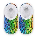TropicalLife BGIFT Pantuflas coloridas con diseño de mariposa, para mujer, hombre, espuma viscoelástica, cálidas, suaves, con forro polar, para interiores, exteriores, dormitorio, antideslizante, par