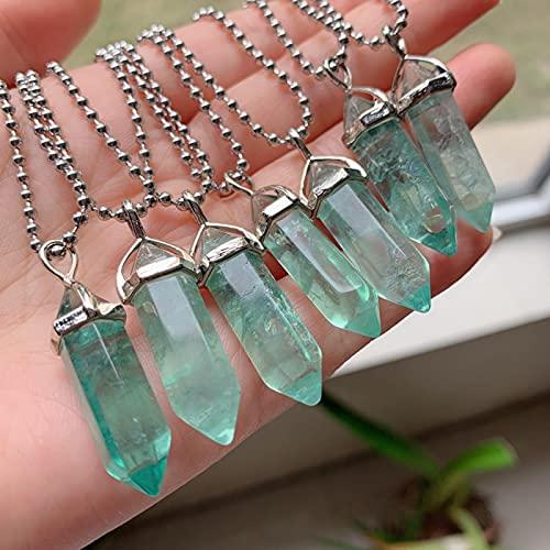 WJZB Reiki Healing Collares de fluorita Verde Colgantes de Cristal Amuleto Gema Natural Piedra de Cuarzo Bala Hexagonal Péndulo Cristal Femenino