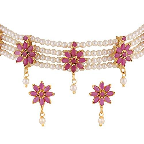 Efulgenz Goudkleurige Indiase Bollywood Ethnic American Diamond Traditional Pink Choker Necklace Set met oorbellen voor meisjes en vrouwen