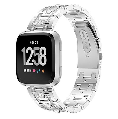 Angersi Correa de Pulsera de Repuesto de Metal de Acero Inoxidable con Diamante Compatible con Fitbit Versa Lite/ versa2 Reloj Inteligente