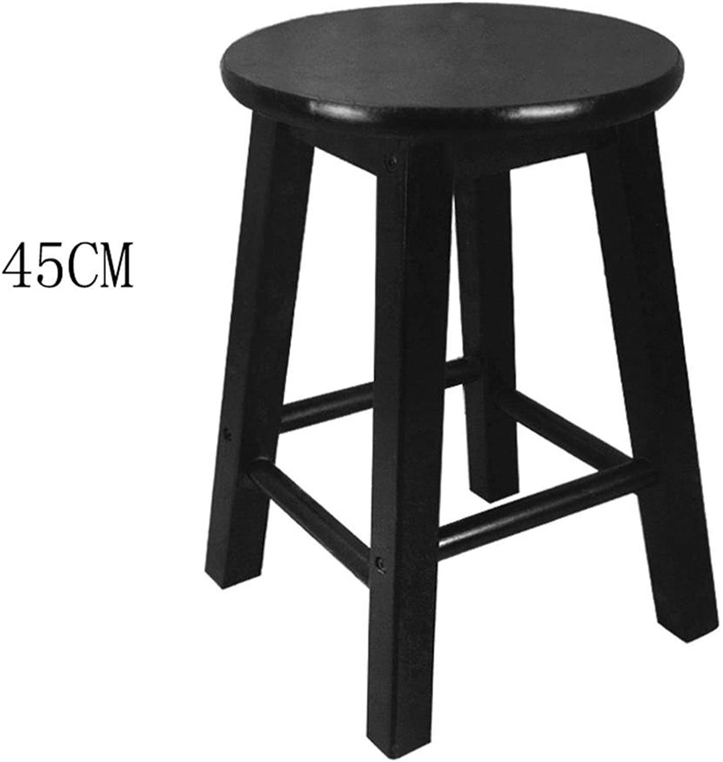 Bar stool,GZD Retro kitchen stools High Stool Round Bar Stools Wood Seat Breakfast Bar, All solid wood height 45cm 50cm 60cm 70cm 80cm for Kitchen Counter Bar , 45cm , 4