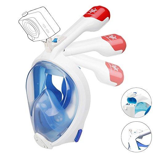 VILISUN Masque de Plongée Schnorkel Plein Visage Unisex 180° Visible, Tuba Pliable, Antibuée et Aanti-fuite...
