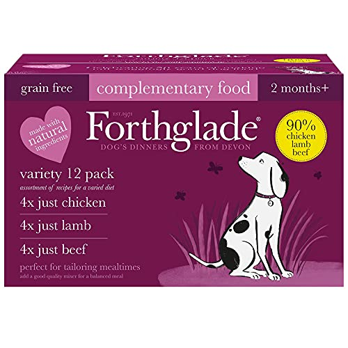 Forthglade Complementary Natural Wet Dog Food - Grain Free Just Variety Pack (12 x 395 g) Trays - Chicken, Lamb & Beef